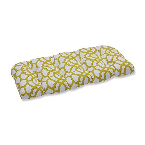Pillow Perfect Outdoor/Indoor Nunu Geo Wasabi Wicker Loveseat Cushion (Cedar Chest White Wicker)