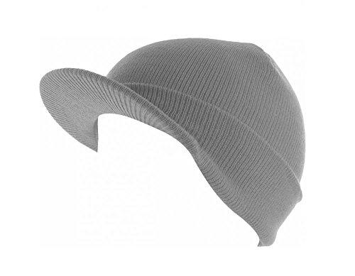 Light Gray_(US Seller)Skull Unisex Visor Beanies Hat Ski Cap Plain (Belly Dance Costumes Clearance)