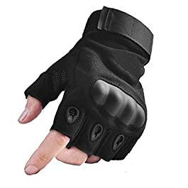 AlexVyan Certified Imported 1 Pair Protective Half Finger Hand Riding, Cycling, Bike Motorcycle Gloves for Men…