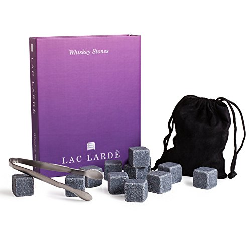 20 Sets of Lac Larde Whiskey Stones Gift Set | 12 Piece Reusable Granite Chilling Rocks for All Your Beverages, Pouch, Tong and Gift Box Included by LAC LARDÉ