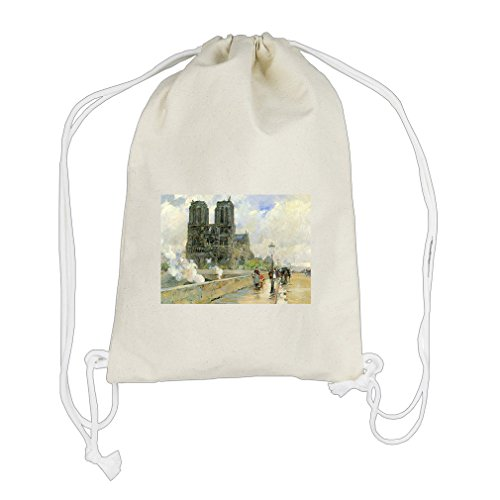 Cathedral Of Notre Dame, 1888 (Hassam) Cotton Canvas Backpack Drawstring - Dame Bag Notre Gym