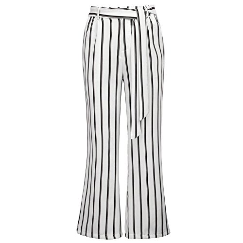 iYYVV Womens Striped High Waist Harem Pants Bandage Elastic Casual Wide Leg Pants