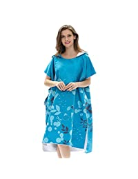 Cartoon Printed Changing Bath Robe, Surf Poncho Towel with Hood, Blue Blooming Flowers
