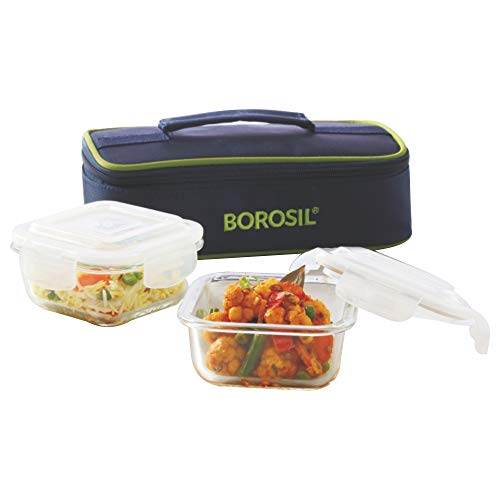Borosil Glass Lunch Box Set of 2, 320 ml, Horizontal, Microwave Safe Office Tiffin Price & Reviews