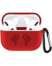 Compatible with AirPods Pro Case, Protective Shockproof Wireless Charging Earbuds Case Cover Skin with Keychain kit Set Compatible for Apple AirPods Pro 2019 (red)