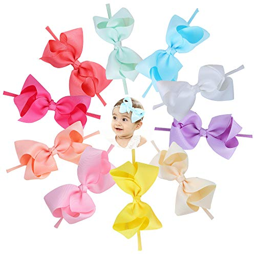 Baby Nylon Headbands Hairbands Hair Bow Elastics for Baby Girls Newborn Infant Toddlers Kids by Prohouse (Bows D-10PCS)
