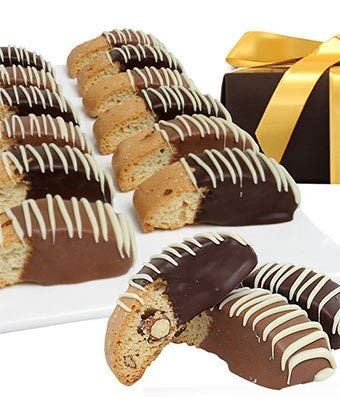 Gifts - Belgian Chocolate Dipped Biscotti Assortment - 12 Pieces