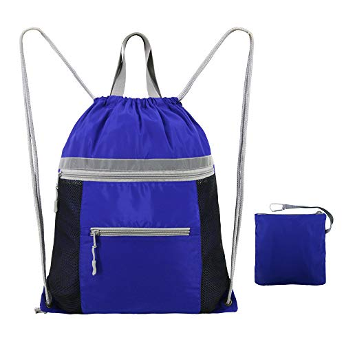 BeeGreen Gym-Bag-Drawstring-Backpack-Sport Sackpack with Pockets, String Backpack Gym Sack Cinch Bag (Compartment Has Drawstring Main)
