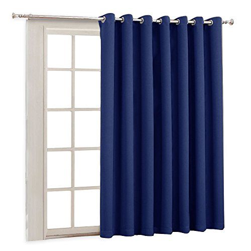 Wide Eyelets - RYB HOME Wide Vertical Insulated Blind Curtain - Furniture Protecting Indoor Outdoor Patio Door Drape with Eyelet Top Blackout Curtains Panel for Sliding Glass Door/Gazebo, 100 x 84 Inch, Navy Blue