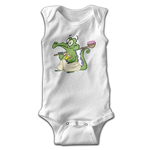 [Anne Infants Boy's & Girl's Crocodile Short Sleeve Romper Bodysuit Outfits For 0-24 Months White] (Toddler Conductor Outfit)