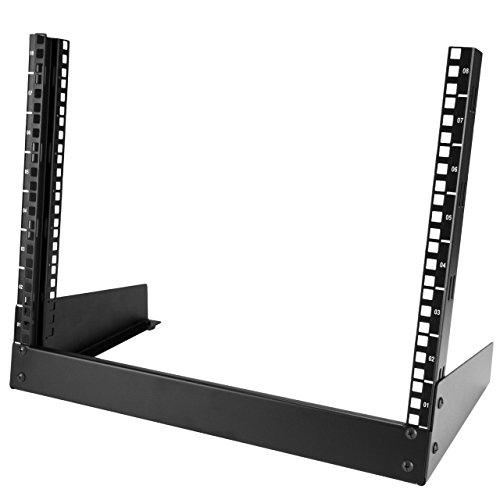 StarTech.com 8U Open Frame Rack - Steel - 2 Post Free Standing Desktop Server Room Rack for Computer / AV / Media & IT Equipment (RK8OD)