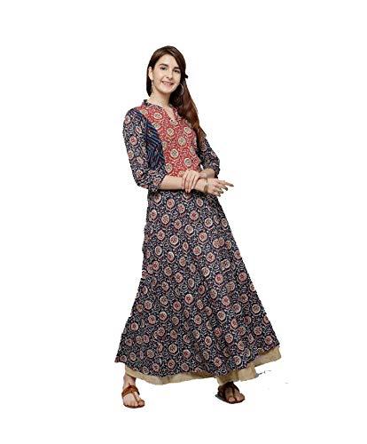 Hiral Designer Mall Womens Kurta Indian Kurtis Dresses for Women Casual Anarkali Kurti Long Dress (xx-large-42, Navy Blue & Red)