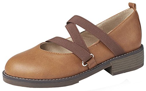 Mofri Women's Comfy Elastic Strappy Round Toe Low Cut Slip On Block Low Heel Pumps Shoes (Brown, 10 B(M) US) (Toe Round Heel Stack Pumps)
