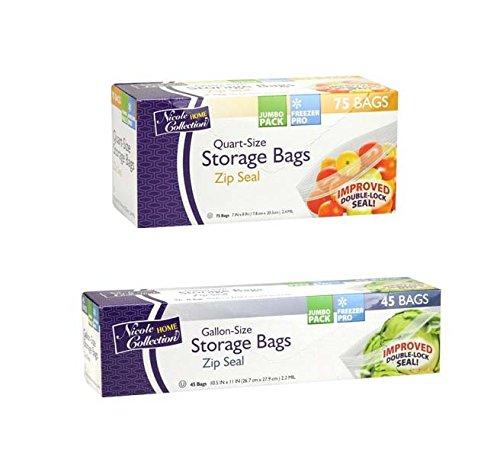 Bundles Bags (Nicole Home Collection Zip Seal Bags Bundle – 45 Gallon Size Bags & 75 Quart Size Bags)