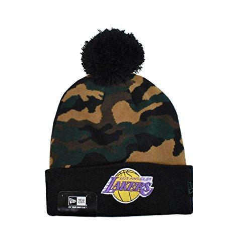 New Era Nba Los Angeles Lakers Knit Beanie Unisex Hat Woodcamo Black by New Era