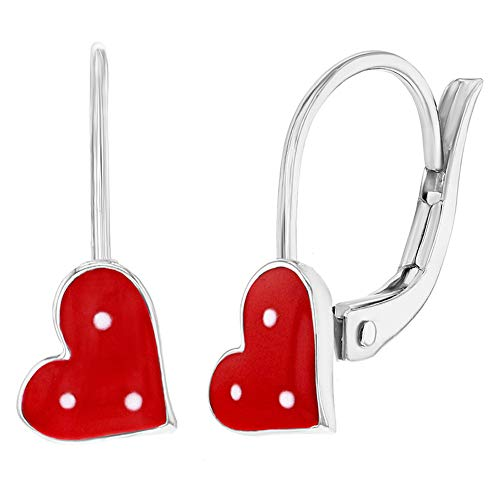 925 Sterling Silver Red Enamel Dotted Heart Dangle Earrings Leverback Girls (Earrings Leverback Heart Childrens)