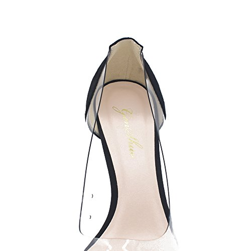 Genshuo Dames 11cm Transparant Ademend Hoge Hakken Sexy Puntige Instappers Bruidsjurk Schoenen Zwart Koppel