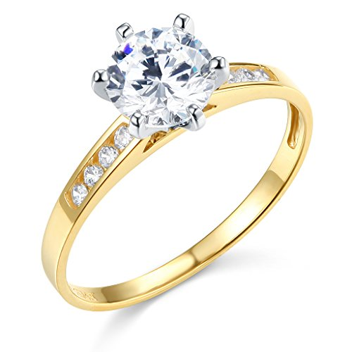 TWJC 14k Yellow Gold SOLID Wedding Engagement Ring - Size 7 (Engagement Rings Yellow Gold)