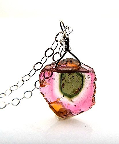 Watermelon Tourmaline Tiny Slice Pendant Necklace on 18 Inch Sterling Silver Chain 1.5 Carats