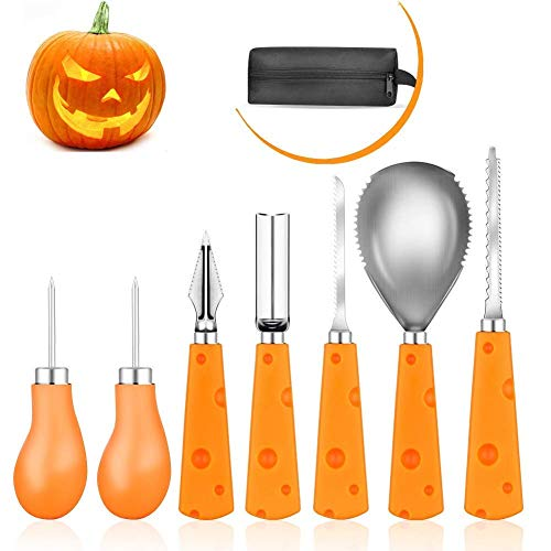 Halloween Pumpkin Carving Kit, Elindio 7 Pieces Heavy Duty Stainless Steel Pumpkin Carving Tools Set for Halloween Creative Carving for Kids Adults Party Decorations, with Storage Carrying Bag -