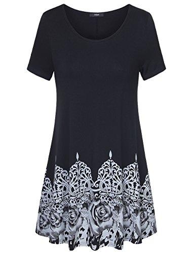 Womens Tunic Tops Short Sleeve,Laksmi Rose Print A Line Loose Fit Casual Shirt,X-L Black