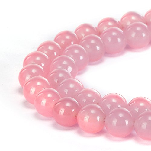 - BRCbeads Gorgeous Natural Pink Jade Gemstone Smooth Round Loose Beads 10mm Approxi 15.5 inch 35pcs 1 Strand per Bag for Jewelry Making
