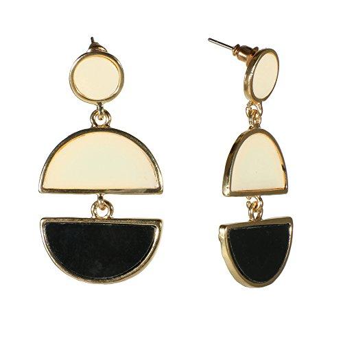 Black Enamel Drop - Unique Black White Goldtone Drop Earrings Enamel Semicircle Geometric Jewelry (White/Black)