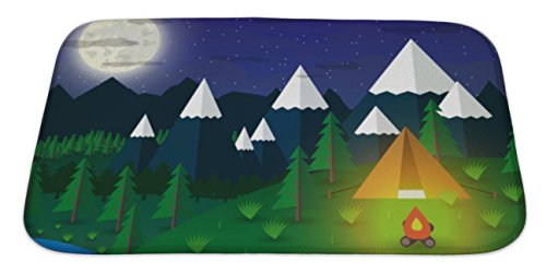 Gear New Bath Mat For Bathroom, Memory Foam Non Slip, Summer Campsite With A Campfire In Night Time Lake Forest Mountains Sky Clouds, 34x21, 5381344GN