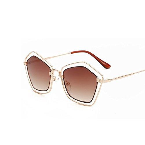Tocoss (TM) New pentagone Lunettes de soleil femmes Marque Designer Lunettes de soleil UV400femelle rétro disque Mode Shades Mode Sunglases pour femme, Gold Double Brown