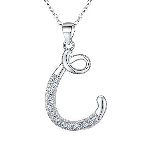 EVER FAITH 925 Sterling Silver CZ Cursive Initial Alphabet Letter C Adjustable Pendant Necklace Clear