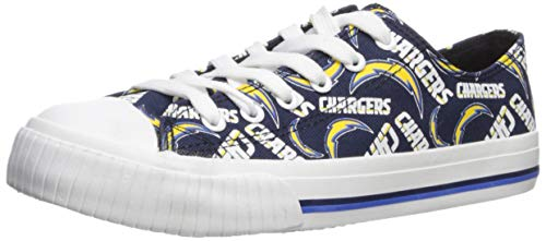 FOCO NFL LA Chargers Women's Low Top Repeat Print Canvas Footwear, Team Color, X-Large