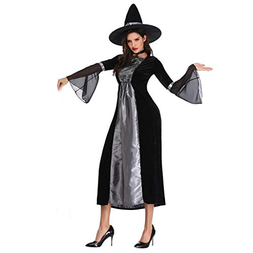 MIS1950s Women's Gothic Maiden Witch Costume with Hat Halloween Cosplay Bewitching Party Dress (L, Silver)