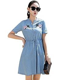 Tanming Women's V-Neck Above Knee Floral Embroidered Denim Shirt Dress