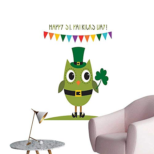 Vinyl Wall Stickers Owl Leprechaun Costume Greeting P y Shamrock White and Olive Green Perfectly Decorated,12