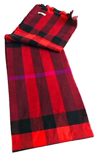 New Authentic Burberry London Lash Fringe Unisex Wool/Cashmere Claret Multicolor Exploded Nova Check Scarf
