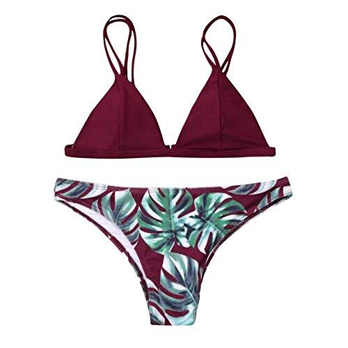rint Unique Swimwear Bikini Set,Women's Leaves Push-Up Padded Bathing Swimsuit Beachwear Wine Red ()