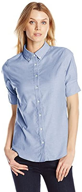 Dockers Womens Short Sleeve Button Down Oxford Shirt, Delft, X-Small: Amazon.es: Ropa y accesorios