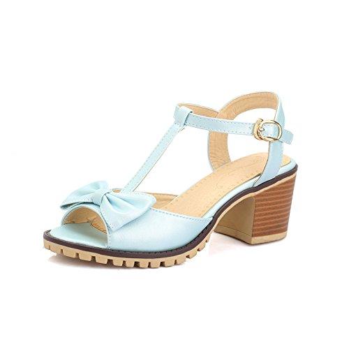 con de femeninas cabeza Nueva ZHZNVX pescado cómodos proa huecos sandalias zapatos gruesa tacones Blue de respirables de sandalias EB8ppqx