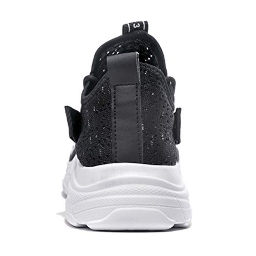 Men's Breathable Knit Sneakers - Stylish Athletic-Inspired Walking Shoes Outdoors Summer Running Trainning Tennis Shoe (Black, US:5.5) by Cealu (Image #4)