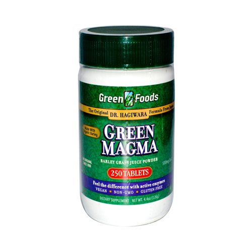 2 Packs of Green Foods Dr Hagiwara Green Magma Barley Grass Juice Powder - 250 Tablets by Green Foods