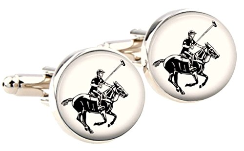 (Bassin and Brown Mens Round Horse Polo Cufflinks - White/Black)
