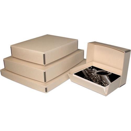 Print File Drop-Front Metal Edge Archival Storage Box, 11.5x14.5x1.5'', Tan