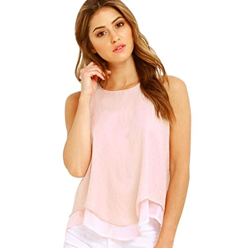 Tops Gilet Sexyville Sans de Dbardeur Rond Volants T Tank Soie Shirt Rose Casual Col Mousseline Et Manche Femmes Chemises 6q47wrx6