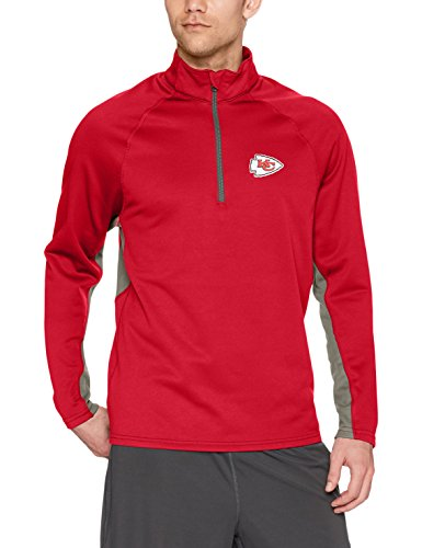 OTS NFL Kansas City Chiefs Men's Poly Fleece 1/4-Zip Pullover, Logo, Small