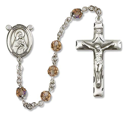 All Sterling Silver Rosary with Topaz, 6mm Swarovski, Austrian Tin Cut Aurora Borealis Beads. St. Rita of Cascia Center. St. Rita of Cascia is the Patron Saint of Loneliness/Impossible Dreams.