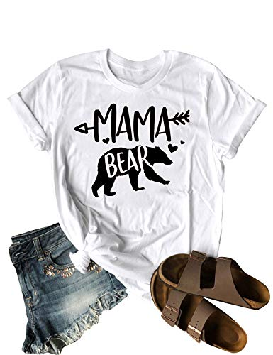 Dresswel Women Mama Bear Cartoon Letter Printed Round Neck Short Sleeve Pullover Tee T-Shirt White