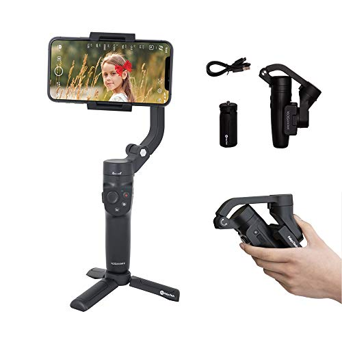 FeiyuTech Vlog Pocket 2 Gimbal Stabilizer for Smartphone 3-Axis Foldable Handheld for iPhone 12/Mini Samsung HUAIWEI Xiaomi Smartphones,Android/iOS Vlog YouTube TikTok,Zoom Control, with Tripod