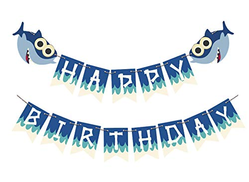Cute Baby Shark Happy Birthday Banner Party Supplies for Birthday Party Backdrop Decorations]()