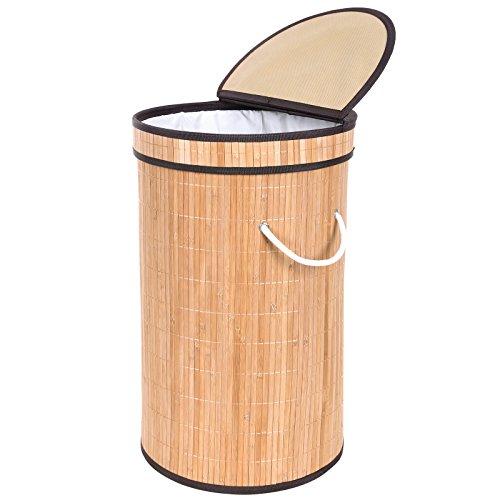 Songmics 66L rund Bambus Wäschekorb faltbar Wäschebox Wäschesammler mit Klappdeckel Tragelaschen Ø 37 cm, 62 cm hoch LCB107