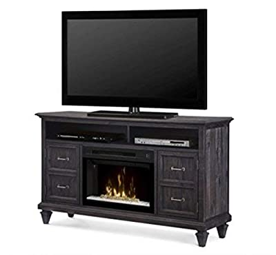 DIMPLEX Electric Fireplace, TV Stand, Media Console, Space Heater and Entertainment Center with Glass Ember Bed Set in Weathered Grey Finish - Soloman #GDS25GD-1594WG